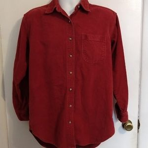 AEO Red Corduroy Front Button Shirt M Mens